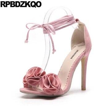 11 Ladies Strap Up Sandals Flower Orange Pink High Heels Fetish Tie Pumps Women Plus Size Stiletto Sexy Extreme Summer Shoes