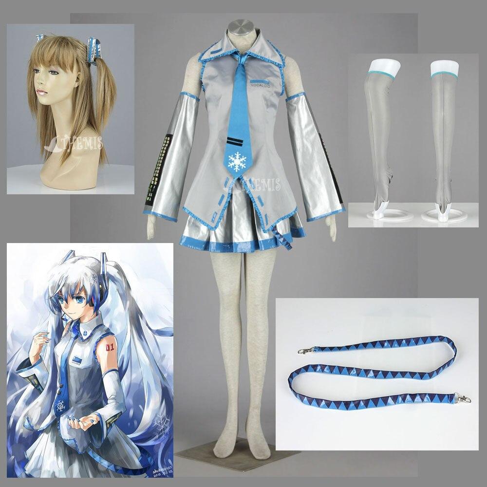 Athemis Yuki MIKU robe argentée Anime Vocaloid Cosplay filles robe tenue fascinante jupe plissée Mini robe