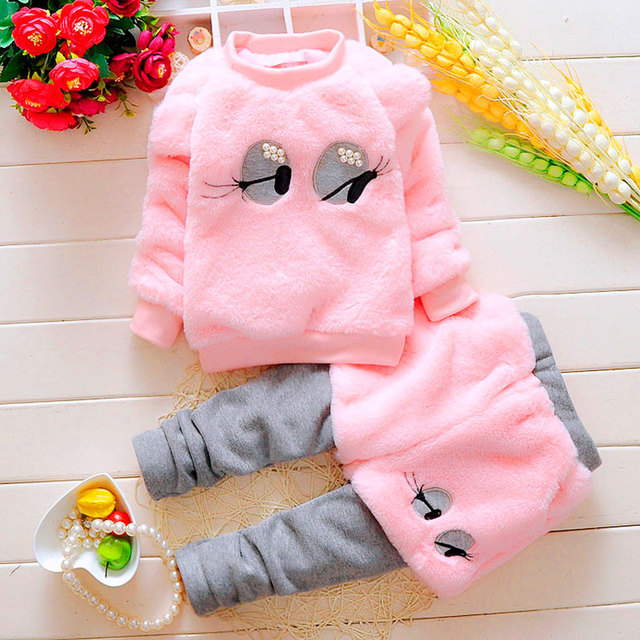 2016 Winter New Arrivals Girl Clothes Suit Cute Cartoon Pearl Eyes Long-sleeved Tops Pants 2 Artificial Fur Children's Clothing
