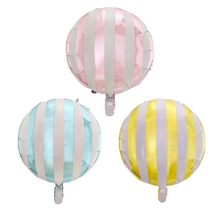50pcslot 18inch round striped candy aluminum foil balloons childrens holiday party layout decorative baby