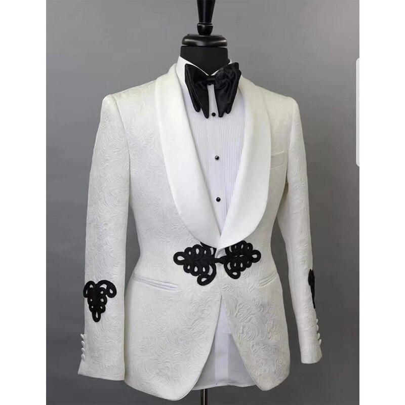 สีขาว Harringbone งานแต่งงานบุรุษชุด 2 ชิ้นสีดำกางเกงผ้าคลุมไหล่ที่ปรับแต่งเจ้าบ่าว Tuxedos-ใน สูท จาก เสื้อผ้าผู้ชาย บน   1