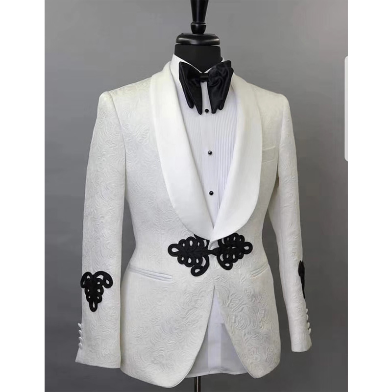 White Harringbone Mens Suits 2 Piece Jacket Black Pants Shawl Lapel Tailored Made For Wedding Groom Tuxedos New Fashion Clothes