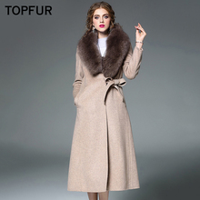 TOPFUR Luxury Real Fur Coat Women Winter Warm Woolen With Detachable Fox Collar High Quality Fashion New Style