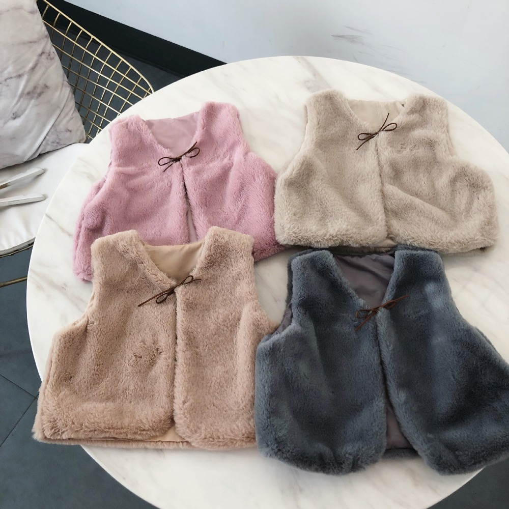 9bb6db54e 2018 Winter New Girl Vest Faux Fur Baby Girl Short Style Vest Coat ...