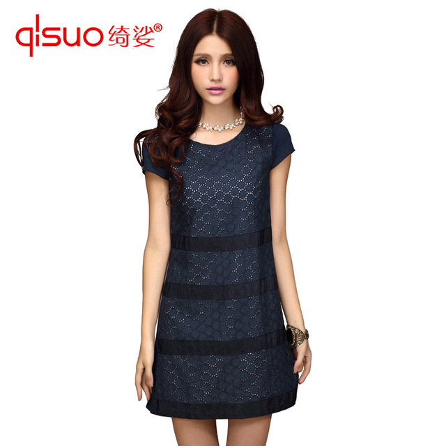 High quality plus size clothing fashion ol slim dress crochet circle one-piece dress