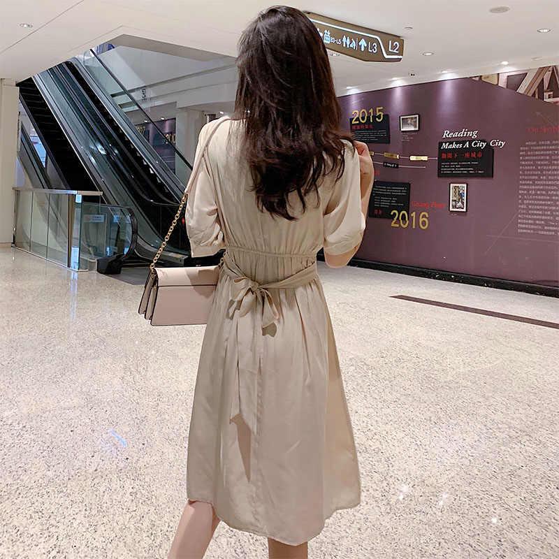 Лето 2019 г. для женщин платья для Boho богемный однотонная повседневная обувь корейский короткий рукав качели расклешенная, миди платье