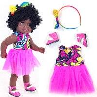 American African baby girl reborn black doll 45cm boneca corpo inteiro de silicone vinyl reborn baby dolls pop child gift toys