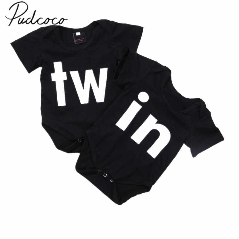 ca967db0ad20 2018 Brand New Newborn Infant Toddler Baby Girl Boy Twin Bodysuit Twins  Matching Jumpsuit Short Sleeve