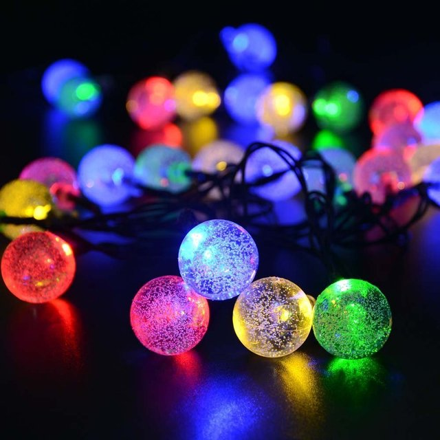Solar Globe String Lights Outdoor 19.7 ft 30 LED Warm White Crystal Ball Christmas Globe Lights for Garden Path Party Bedroom