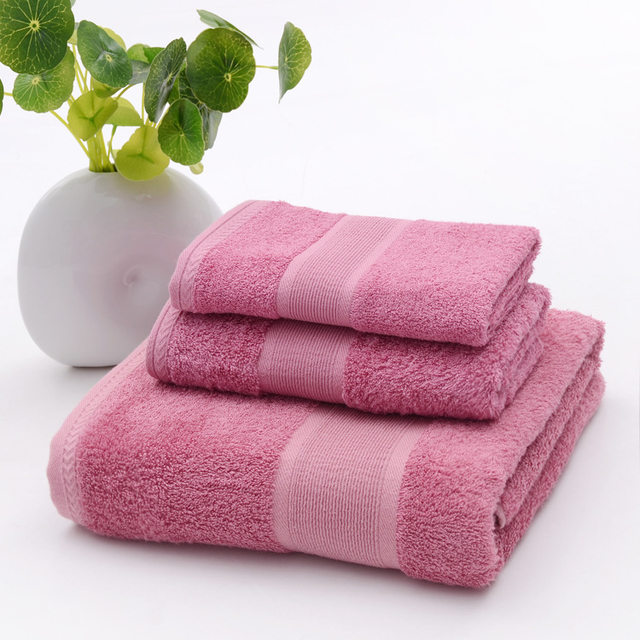 2018 antibacterial pink bathroom towel sets bamboo beach bath towels for adults luxury face body wash cloth shower towels 3 pcs - Pink Bathroom Towels