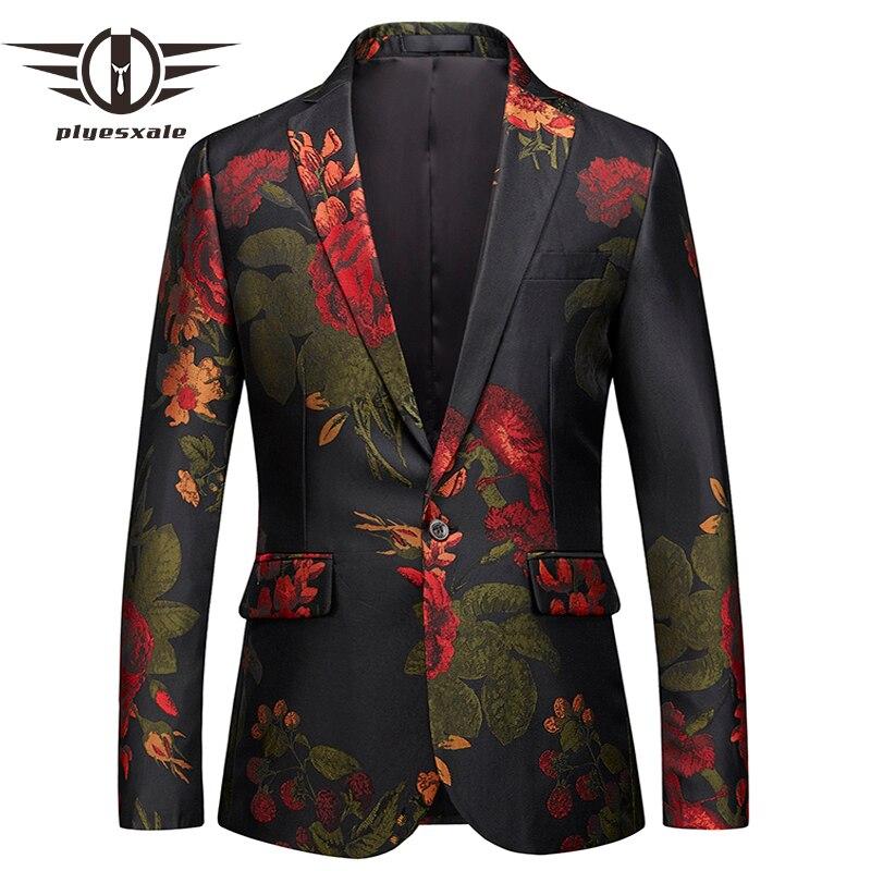 Plyesxale رجل الزهور السترة سترة 2018 العلامة التجارية رجالي سليم صالح السترة 5XL 6XL الرجال الحلل و جاكيتات البدلة حفلة موسيقية حزب ارتداء Q396-في السترات من ملابس الرجال على  مجموعة 1