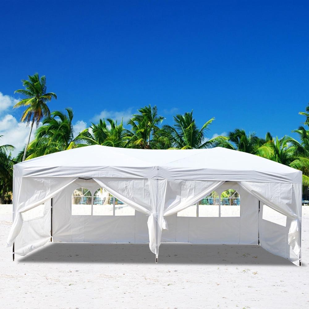3x6 м четыре Windows практичная Водонепроницаемая складная палатка белый беседка, навес тент укрытие Сталь рама Патио Сад Вечерние