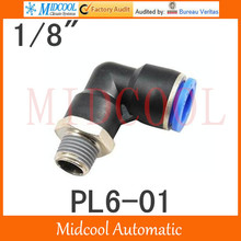 Quick connector PL6-01,6mm to 1/8 L thread bent on, brass pneumatic components,air fitting
