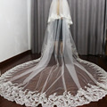 2017 velos de novia 4 Meters 2T White&Ivory Sequins Blings Sparkling Lace Edge Purfle Cathedral Wedding Veils Luxury Bridal Veil