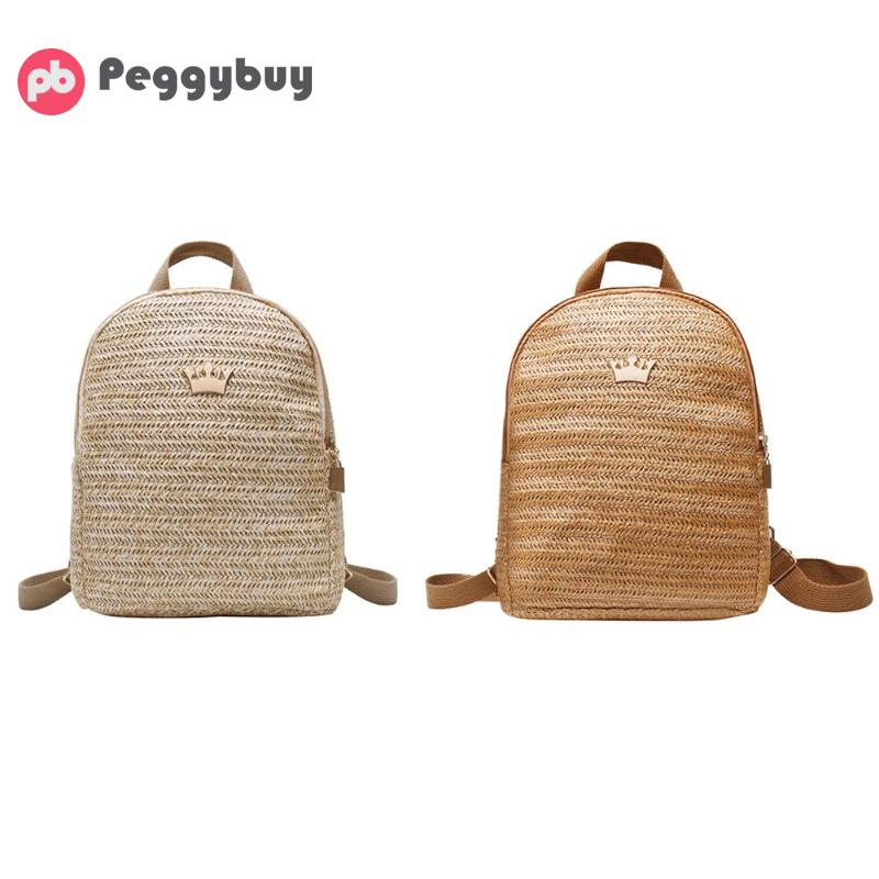 Straw Woven Travel Backpacks Women Shoulder Schoolbags Crown Decor Knapsack Bolsa Feminina