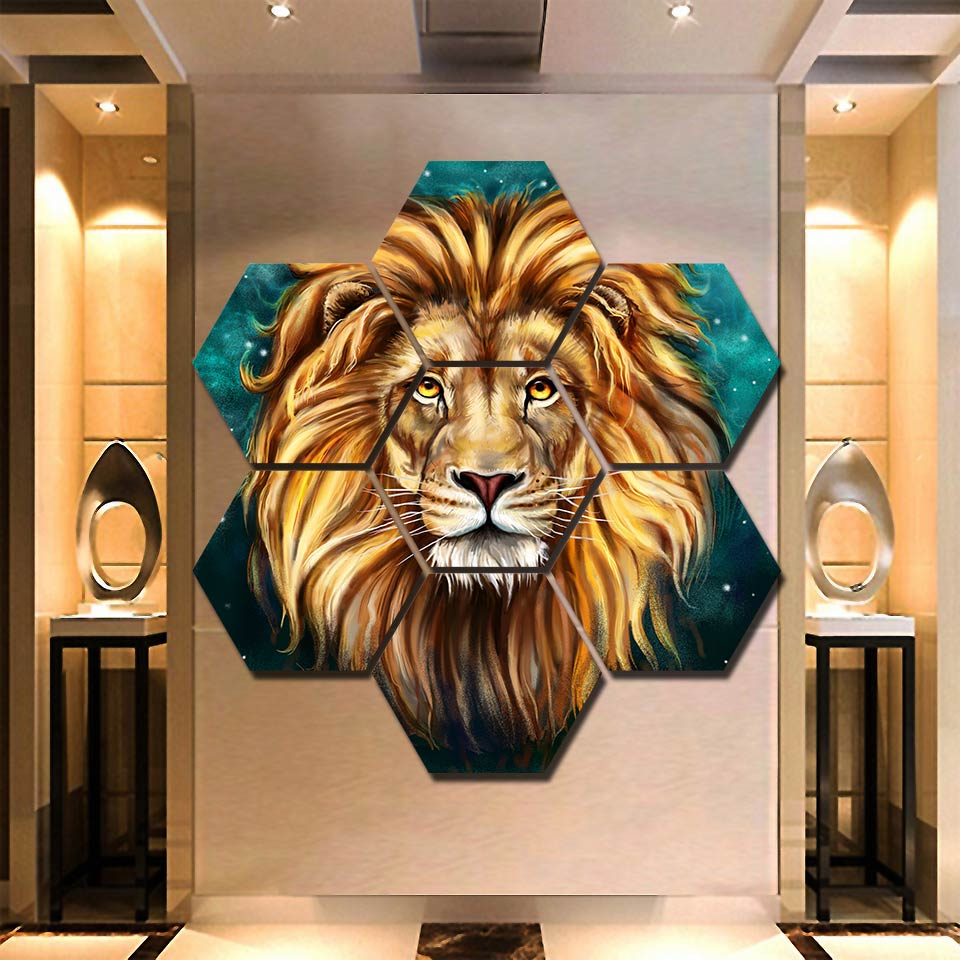 Framed Lion Painting Hexagonal Canvas Set 7 pieces print canvas painting wall home decor pictures for living room framework