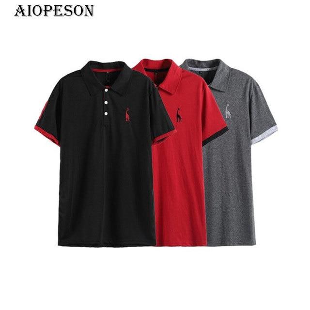 9e4c031c95 3 pcs AIOPESON Mens Polo 100% Algodão Veados Bordado Polo de Fitness Kit 3  Camisa