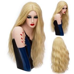 Image 5 - MSIWIGS 70 CM Uzun Pembe Dalgalı Peruk Cosplay Doğal Sentetik kadın Sarışın Peruk 29 Renkler Isıya Dayanıklı Saç
