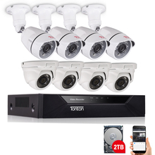Tonton 1080P Home Video Surveillance System 8CH DVR Face Detection 2MP Outdoor CCTV Security Camera Kit P2P Video Output 2TB HDD