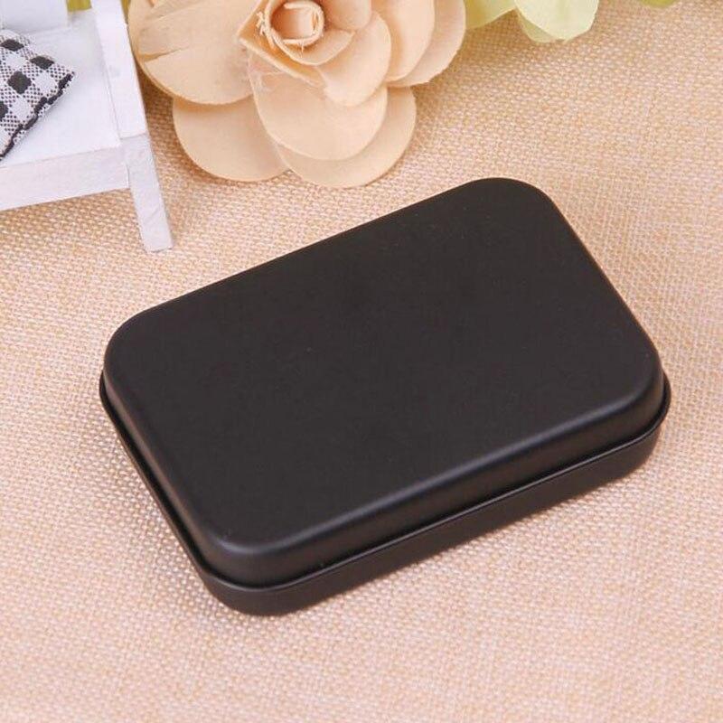500 pièces Mini boîte en fer blanc petit vide boîte de rangement en métal noir boîte organisateur pour monnaie bonbons clés carte à jouer boîte-cadeau