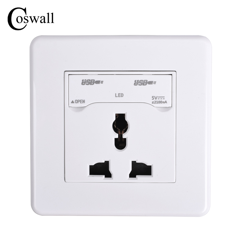 COSWALL Wall Power Socket Universal 3 Hole Electrical Outlet With Children Protective Lock + Dual USB Charging Port For Mobile