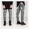 Chegada nova cor e design slim homens motociclista jeans denim do vintage magros homem jeans dos homens denim jeans motociclista moto de hip hop dos ganhos calças