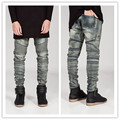 New arrival color and design slim men biker denim jeans vintage skinny moto jeans man denim mens biker jeans hip hop swag pants