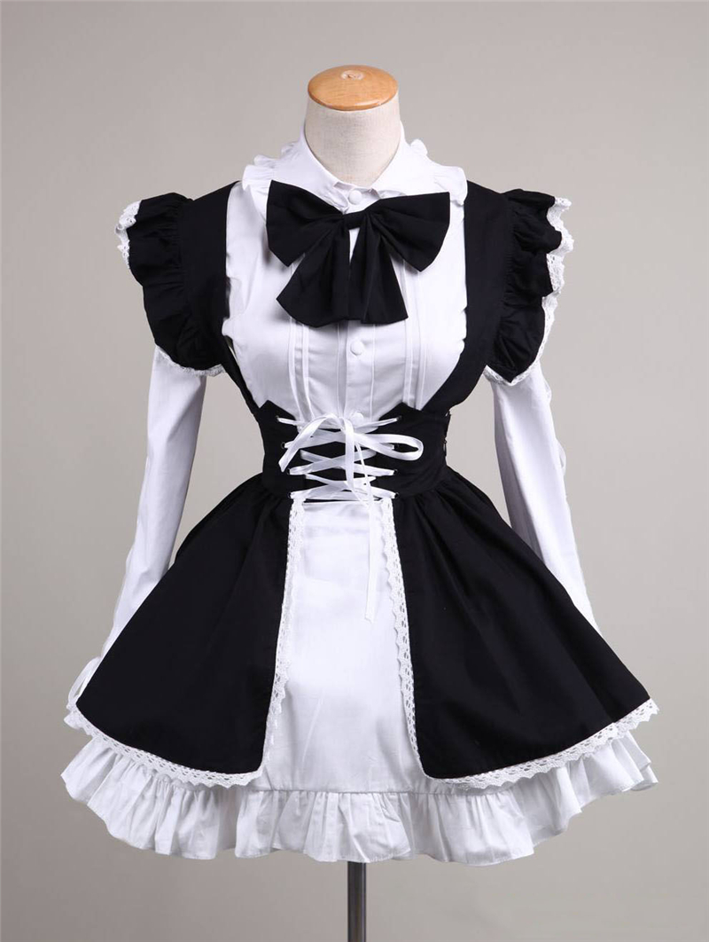 Anime Maid Costume Cosplay  Sexy Sweet Gothic Lolita Dress Long Black White Restaurant Cafe Cute Maid Wear H