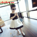 chifave 2016 New Summer Fashion Girls Dress Shoulderless Lace Knee-length Dress Patchwork A-line Cute Girls Kids Dress
