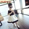 chifave 2016 New Summer Fashion Girls Dress Shoulderless Lace Knee-length Dress Patchwork A-line Cute Girls Kids Dress
