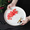 Тарелка для ужина  Рождественская тарелка  керамическая тарелка  керамическая тарелка Vajilla  инновационная тарелка для стейка с изображение...