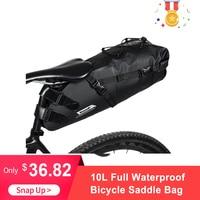 RHINOWALK Bike bag 10L Full Waterproof Bicycle Saddle Bag Road Mountain Bike Cycling Rear Rack Bag Luggage Pannier Accessories
