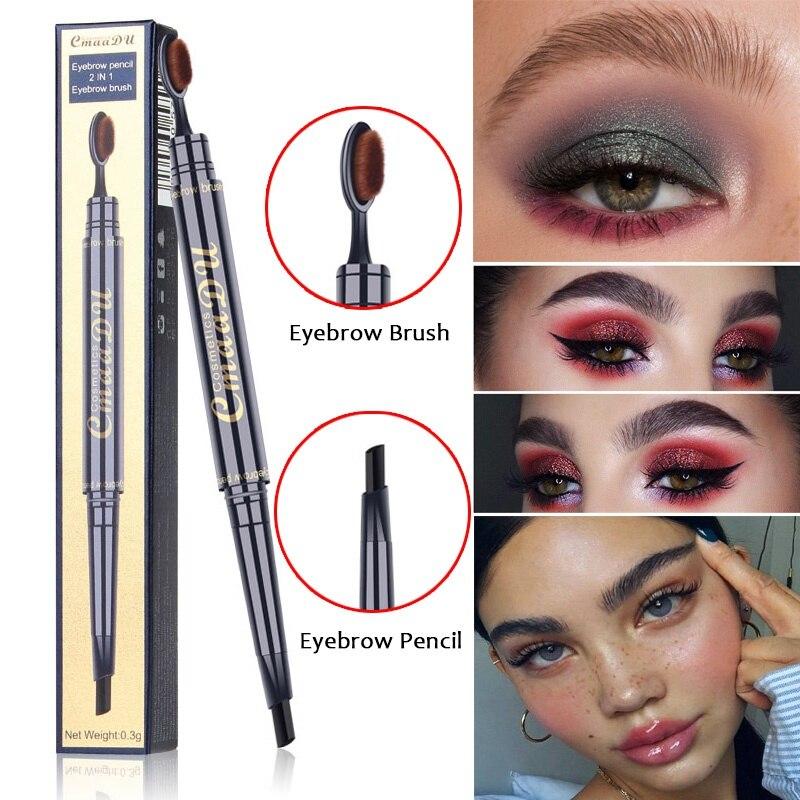 1pc Toothbrush Double Head Eyebrow Pencil Waterproof Long Lasting Eye brow Pen with Brush Makeup Cosmetics