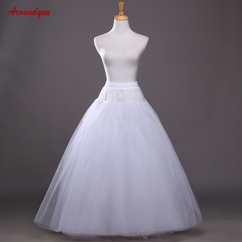 Long Petticoat For A Line Wedding Dress Woman Underskirt Tulle Pettycoat Crinoline Hoop Skirt