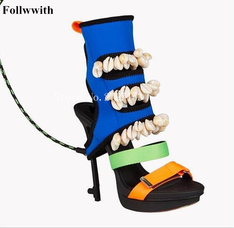 Follwwith Surfer's Paradise Patchwork Suede Mixed Colors Shell Embellish Women Sandals High Heels Sexy Party Wedding Shoes Boots пуф patchwork colors