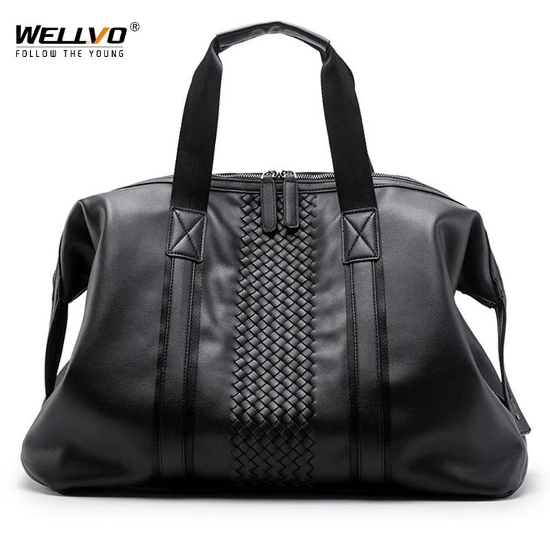 все цены на Men Travel Duffle Bags Waterproof Leather Handbags Shoulder Bag For Women Large Capacity Weekend Bag Male Luggage Bags XA22C онлайн
