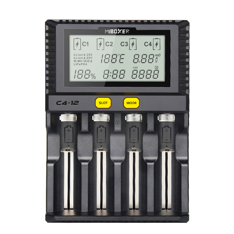 Miboxer 4Slots 3A slot LCD Screen Battery Charger for Li ion Ni MH Ni Cd LiFePO4