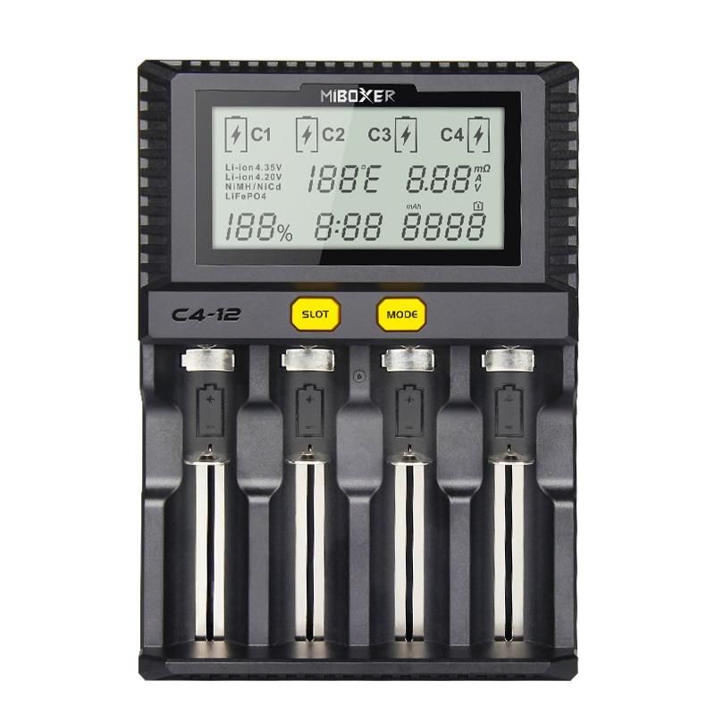 Miboxer 4 Slots 3A/Tela LCD slot de Carregador de Bateria para Li-ion/Ni-MH/Ni-Cd/LiFePO4 18650 14500 26650 AAA AA baterias recarregáveis