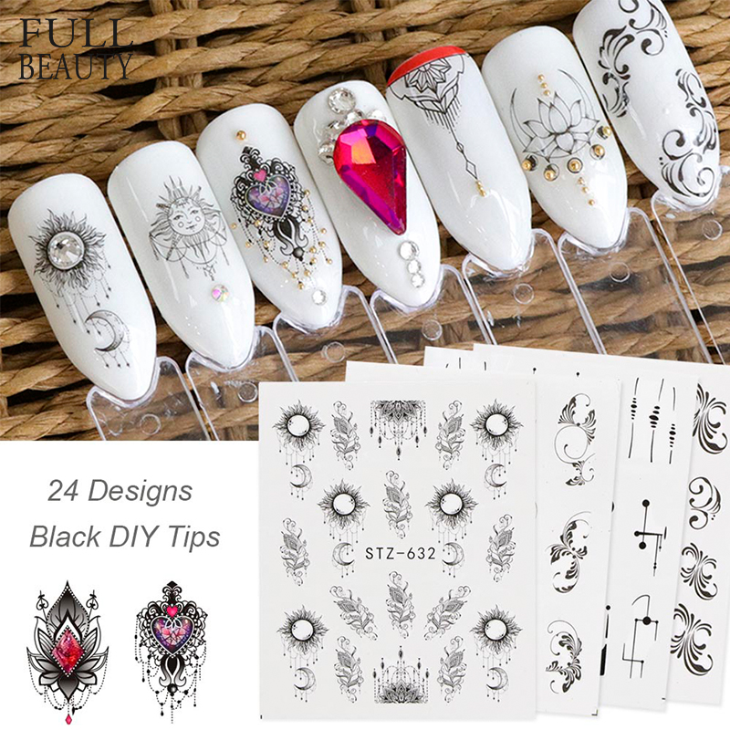 Full Beauty Mixed 24pcs Water Decals Nail Sticker Black Simple Image for DIY Nail Art Decorations Manicure Decor Tool CHSTZ24