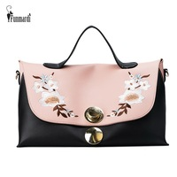 FUNMARDI Fashion Luxury Lock Women Handbags Embroidery PU Leather Bags Big Capacity Ladies Bags Famous Shoulder Bag WLHB1707