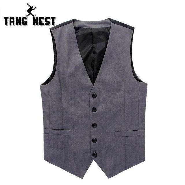 TANGNEST 2017 Business Men Formal Suit V-necked Vest Slim Handsome Beckham Vest Men Single breasted Asain Size M-XXL MWM072