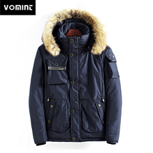 Vomint 2019 New Winter Mens Parkas Thicken Coat Loose Padded Jackets with Fur Hoodie Windproof Multi-pockets Keep Warm Coats