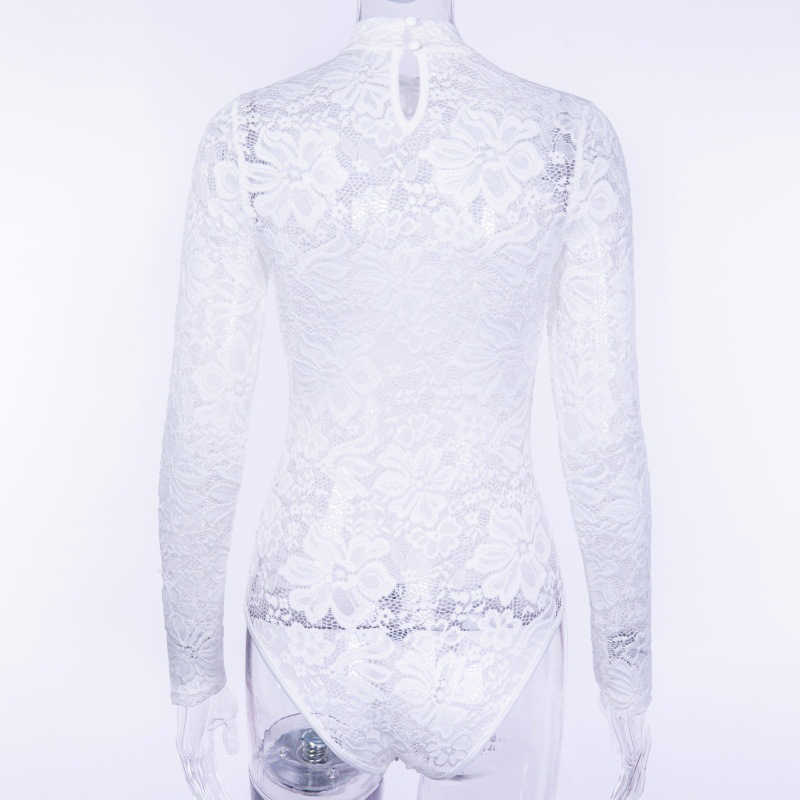 a9f779f11c5 ... Colysmo Sexy Bodysuit Women Winter White Lace Jumpsuit Women Elegante  Rompers Solid Long Sleeve See Through ...