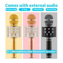 WS858 Handheld Condensador Magia Karaoke Microfone Jogador Do Telefone Móvel Sem Fio Bluetooth Speaker MIC Gravar Música KTV Microfone