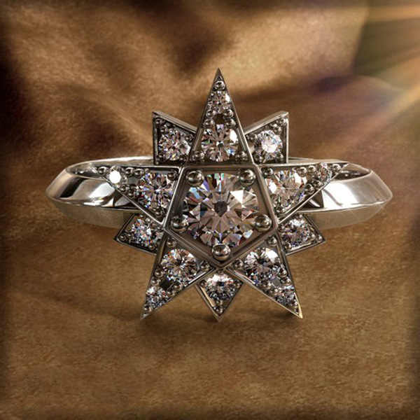 ยี่ห้อดาวหญิงหมั้นแหวนน่ารัก 925 เงิน Rose Gold Love งานแต่งงานเครื่องประดับสัญญา Zircon แหวนหินสำหรับผู้หญิง