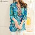 2017 Новая Мода Женщины Блузка Лето Стиль Рубашки Женщины Vestidos шифон Мини-Платье Плюс размер 4XL цветочные Повседневная Топы Blusas Mujer