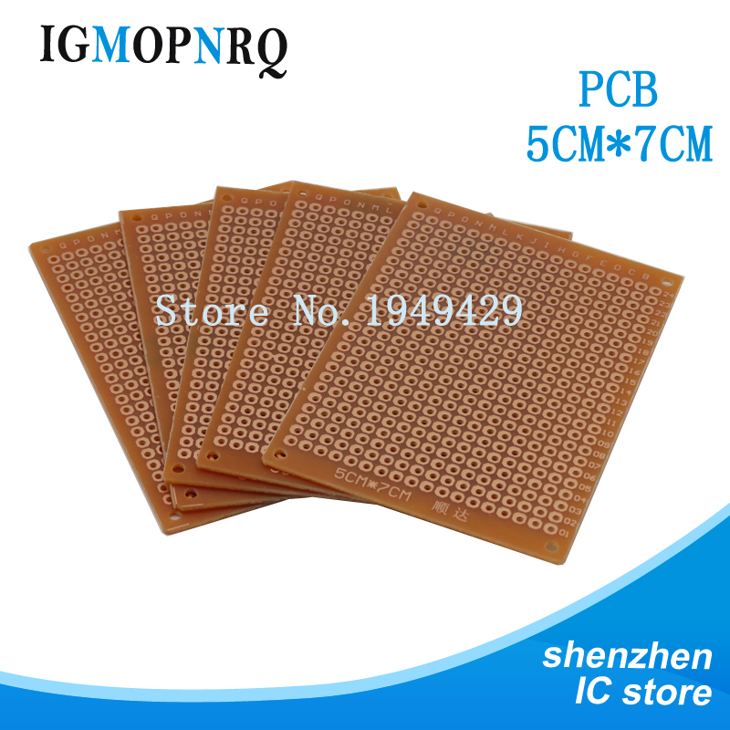 5Pcs Prototype Paper Copper PCB Universal Experiment Matrix Circuit Board 5x7cm
