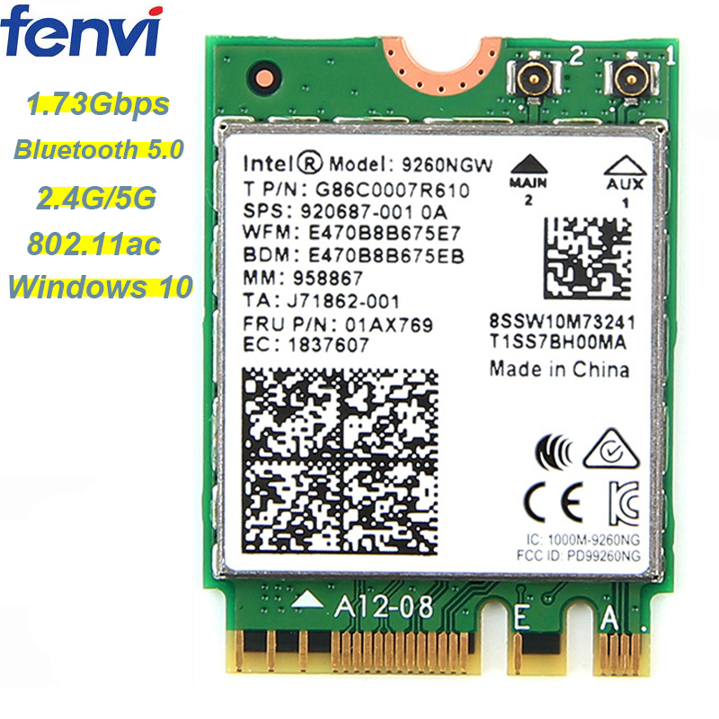 1.73Gbps Wireless 9260NGW NGFF Network Wifi Card For Intel ac 9260 2.4G/5Ghz 802.11ac Wi-fi Bluetooth 5.0 for Laptop Windows 10(China)
