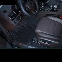 lsrtw2017 fiber leather car interior floor mat for volkswagen vw touareg 2002-2020 2019 2018 2017 2016 2015 2014 2013 2012 interior black leather red stitches floor mat carpet for volkswagen touareg 2003 2010 5 door sedan