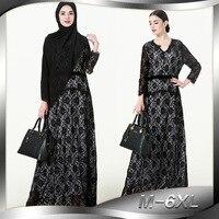 2018 Fashion Women Lace Dress V Neck Long Sleeve Plus Size 6XL Patchwork Elegant Muslim Dress